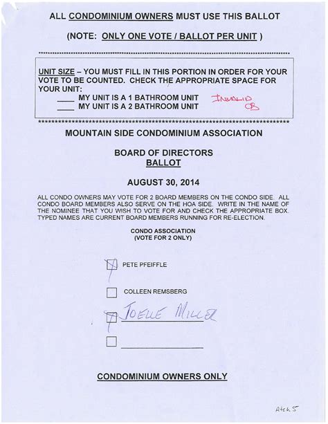 Board Of Directors Election Mountain Side Owners File Formal Complaint To Invalidate Election Hoa Board Election Ballot Template