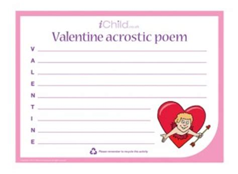 valentine s day acrostic poem ichild