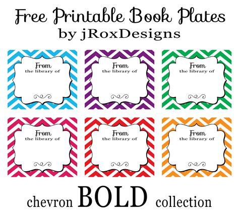 printable free books personalized your library with free printable chevron book