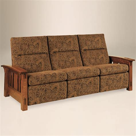 mission style recliner fabric reclining sofa amish handmade power recliner couch