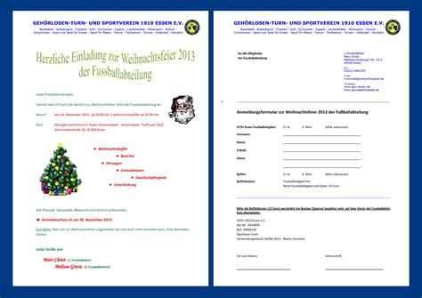 Muster Einladung Jahreshauptversammlung Sportverein Herzliche Einladung Zur Weihnachtsfeier 2013 Der Fu 223 Ballabteilung Geh 246 Rlosen Turn Und