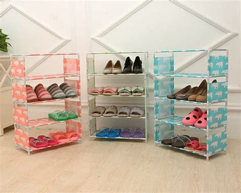 Rak Sepatu 4 Susun Plastik rak sepatu portable 5 susun serbaguna kemasan plastik