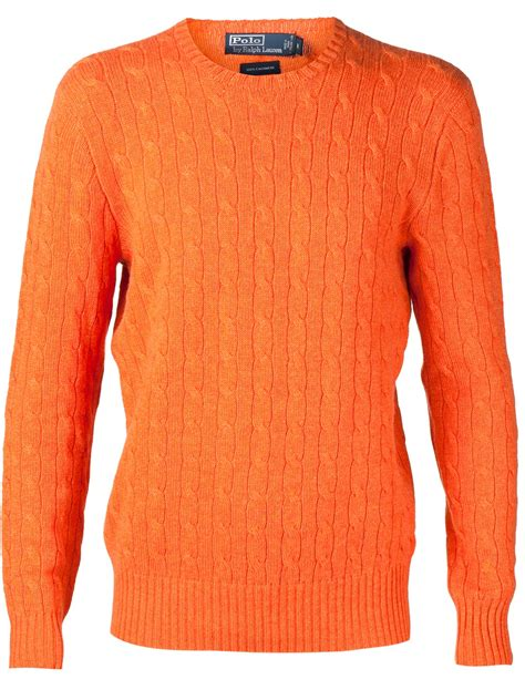 Tj Sweater Orange polo ralph cable knit sweater in orange for lyst