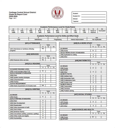 semester report card template progress report card templates 14 free printable sle