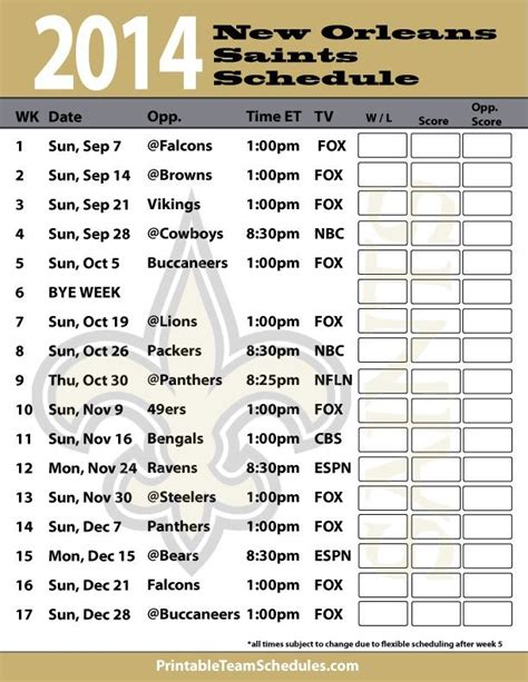printable saints schedule 2015 new orleans saints 2015 schedule printable new calendar