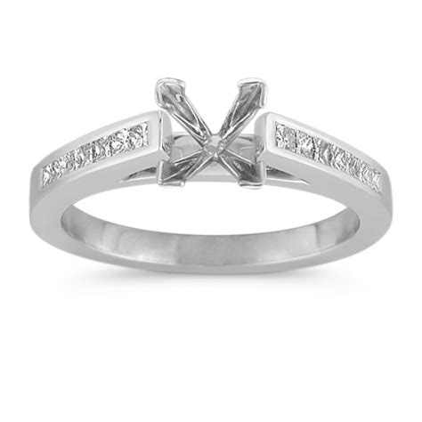 cathedral princess cut engagement ring with