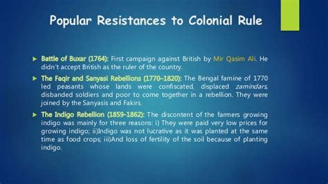 pattern of colonial rule rebellions against british in indian subcontinent causes
