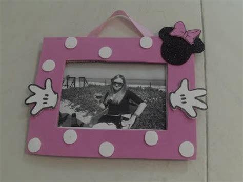 como hacer un porta retrato de minnie mouse marco de fotos minnie de carton y goma eva youtube
