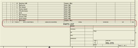 parts list template applied software inventor parts lists create one and