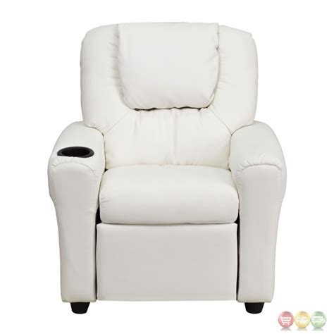 Cup Holder For Recliner by White Vinyl Recliner With Cup Holder And