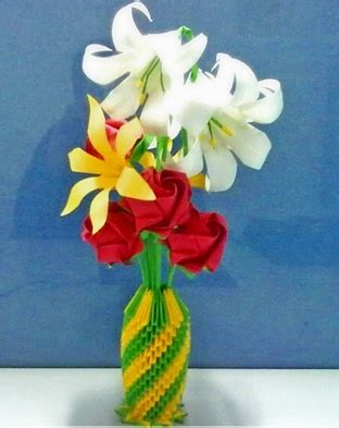 3d origami flower vase 3d origami vase with flowers block folding