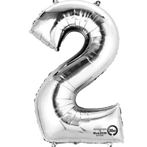 Foil Silver Rlm 06 silver number 2 16 quot foil balloon supplies