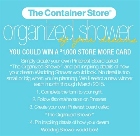 Container Store Gift Card Discount - win a 1 000 container store gift card pinterest sweeps coupons and deals