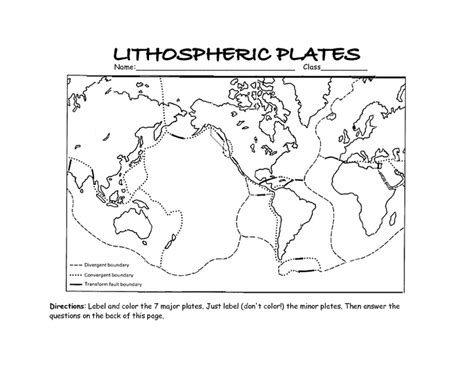Plate Boundaries Worksheet by The Gallery For Gt Tectonic Plate Map Worksheet