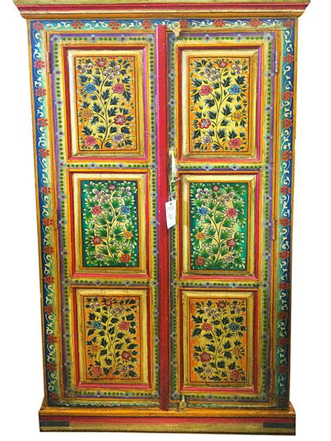 hand painted indian cabinets indian jaipur armoire hand painted floral from mogulgallery on