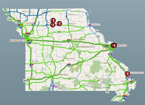 modot road closure map modot roads mostly cleared work continues to remove snow