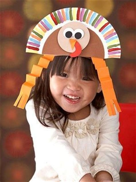 Pilgrim Paper Plate Craft - paper plate turkey hat thanksgiving craft