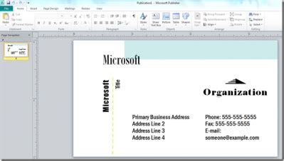 Design Create A Business Card Using Microsoft Publisher Microsoft Office Business Card Templates Free