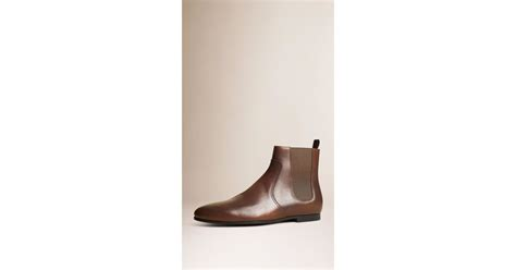 burberry leather chelsea boots peppercorn in brown for
