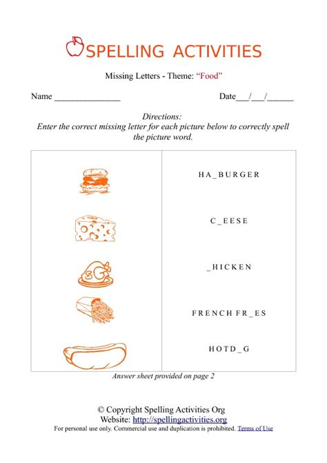 Letters In Spelling missing letters spelling worksheet with food names