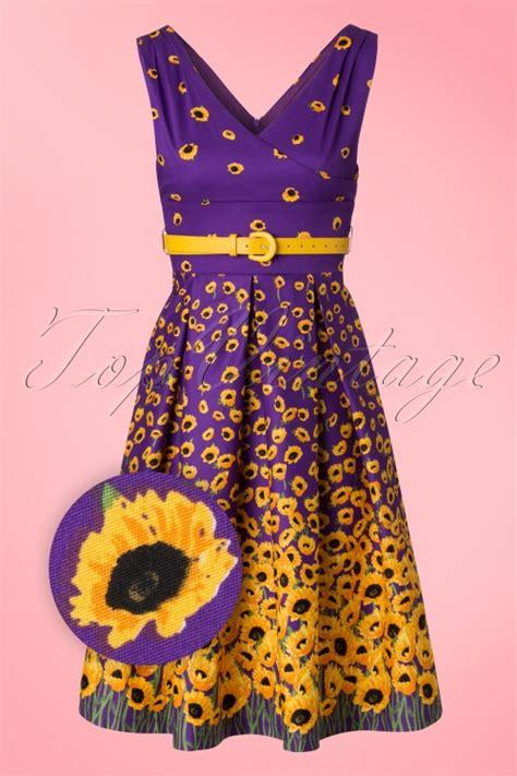 Fairus Dan Sun Flower Dreaa 50s valerie sunflowers swing dress in purple