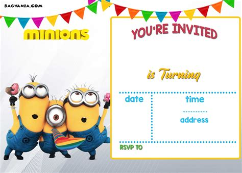 free printable minion invitation template free printable minion birthday invitation templates