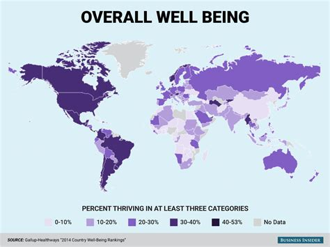 this awesome map shows the happiest place in each state gallup healthways 2014 well being world map business insider
