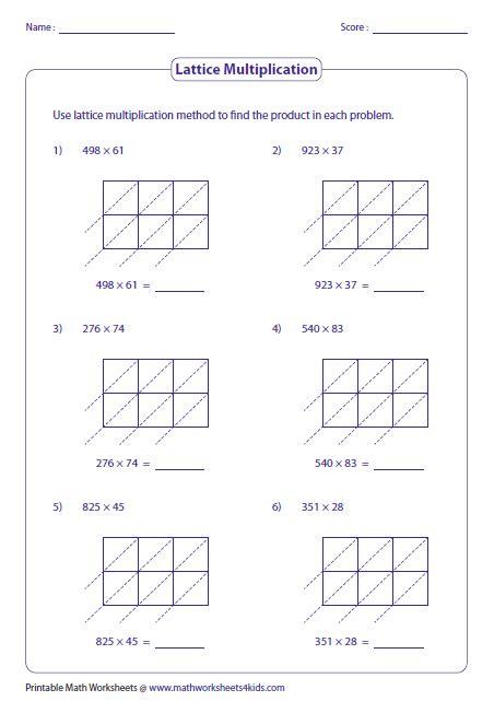 3 And 2 Digit Lattice Multiplication Math Lattice