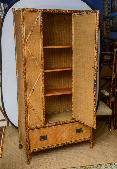 wicker armoire 19th century english bamboo and rattan armoire at 1stdibs