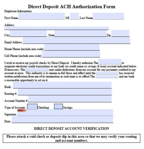 ach form template ach direct deposit authorization form pdf rtf