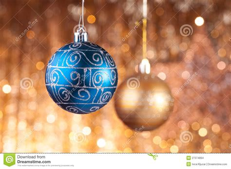 blue and gold christmas baubles stock photo image 27374894