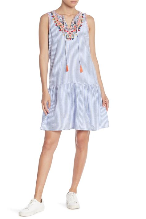 Beachlunchlounge Linen by Beachlunchlounge Embroidered Linen Blend Striped Dress Nordstrom Rack