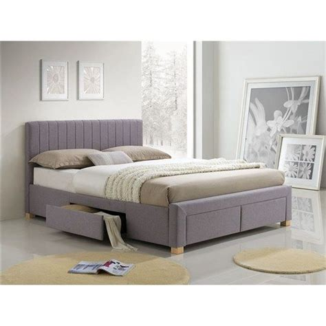 Platform Bed With End Drawers Cerola Fabric Bed With Side End Drawers Inspire