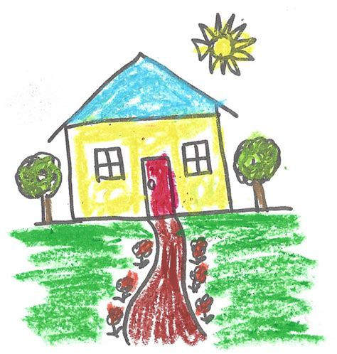 draw my house my first memories are strokes across the white page the