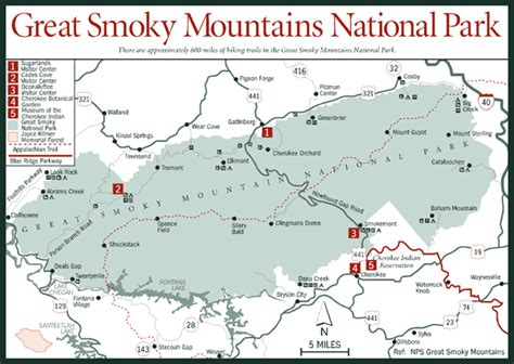 great smoky mountains national park map sherpa guides carolina mountains great smoky mountains national park map