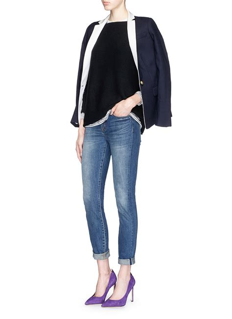 j crew collection boat neck tunic in black lyst
