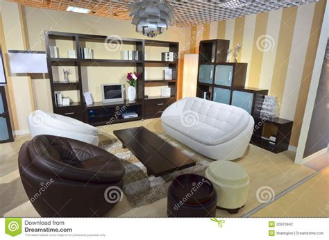 fully furnished living room area inside our home stock