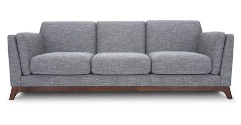 Gray Sofa 3 Seater With Solid Wood Legs Article Ceni Modern Grey Sofa