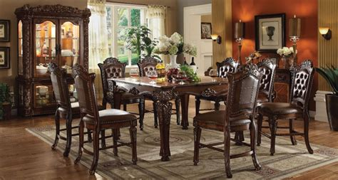 vendome traditional formal dining room cherry finish vendome 5 piece square top counter height table dining set