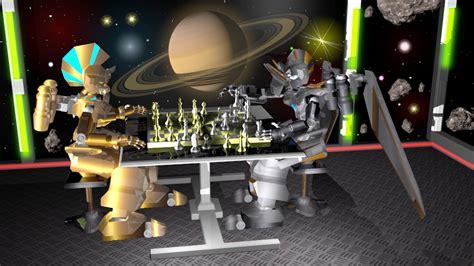 film robot luar angkasa blender 3d robot bermain catur di luar angkasa
