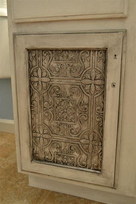 Redo Kitchen Cabinet Doors Cabinet Door With Tin Tile Wallpaper This Is Such A Great Idea To Transform A Plain Door My