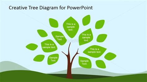 Tree Diagram Clipart For Powerpoint Leaves Slidemodel Powerpoint Tree Diagram