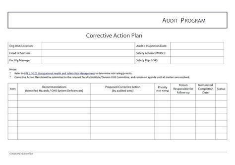 Corrective Action Plan Exle Corrective Action Plan Action Corrective Action Plan Audit Report Audit Corrective Plan Template
