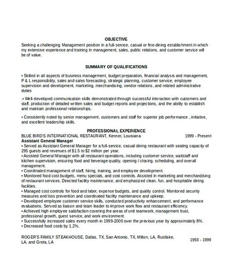 Restaurant General Manager Resume by Professional Manager Resume