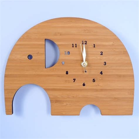 Handmade Clocks - handmade bamboo wall clock elephant contemporary
