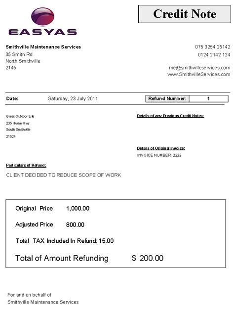 Refund Letter Of Credit Sle Credit Note Includes Gst Sales Tax Refund Amount Easyas Accounting Software