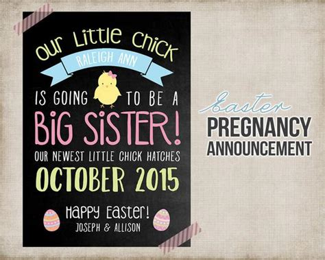 Easter Big Sister Pregnancy Announcement Printable Card Sign Pregnancy Announcement Templates Free