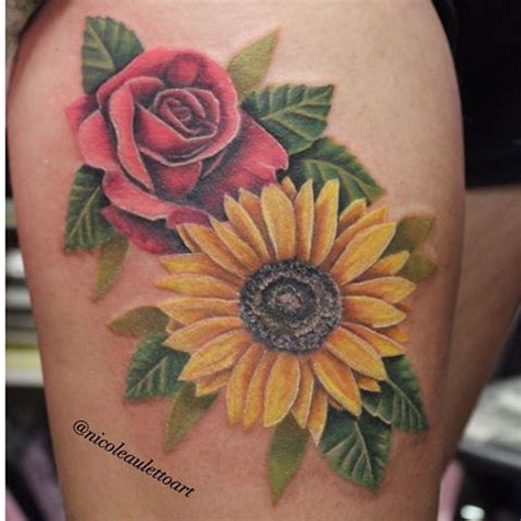 sunflower and rose tattoo image result for sunflower and ideas