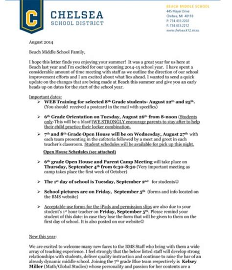 Parent Welcome Letter Middle School Chelsea Update Chelsea Michigan News