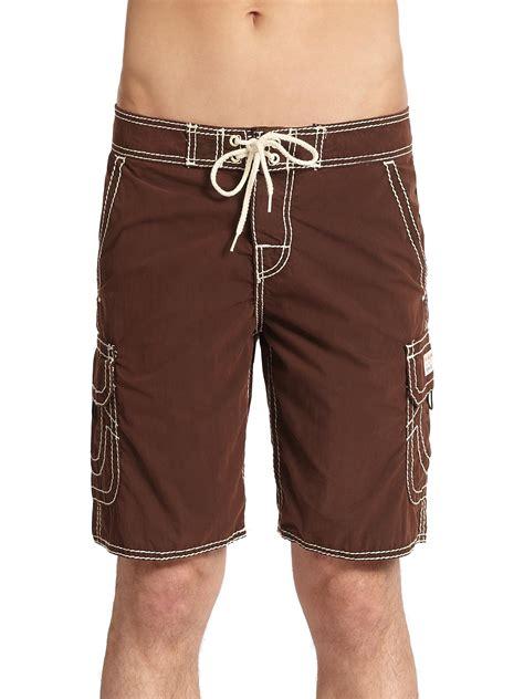 true religion cargo board shorts  brown  men lyst